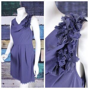 Esley Crepe Lace Trim Cowl Floral Sheath Dress